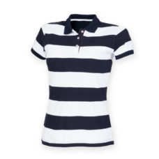 Women's striped pique polo